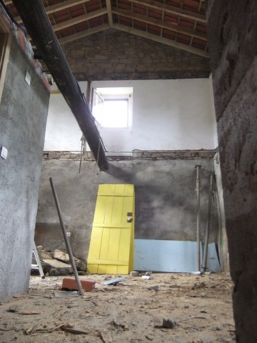 wooden beam removing inside a room